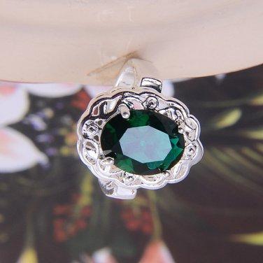 BNBWOT ~ Sterling Silver Emerald CZ Gemstone Ring, Size 8