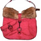Coach Quilted Signature C Large Duffle Ski Hobo Fur Bag w/ Matching Wristlet