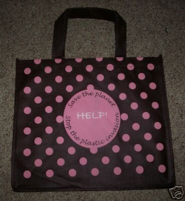 BROWN W/ PINK POLKA DOTS Reusable Grocery Shopping Bags
