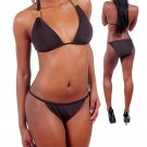 Envya Goldtone Trim Grecian Plus Halter String Bikini Fashion