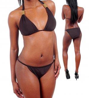 Envya Goldtone Trim Grecian Plus Halter String Bikini Fashion