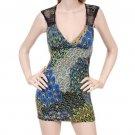 LAST ONE!! Peacock Knit Shoulder Plunge Mini Dress Tunic Top Fashion