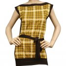 Vintage Look Houndstooth Tab Sleeve Belted Top Shirt Fashion