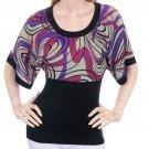 LAST ONE!! Kimono Sleeve Geometric Thin Knit Sweater Top Fashion