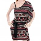 Aztec Mexican Print One Shoulder Tie Waist Knit Dress Fashion