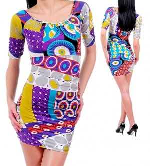 Funky Psychedelic Multi Color Retro Bold Print Sexy Club Jersey Dress Fashion