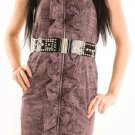 LAST ONE IN STOCK!! Biker Chic Stud Belt Knobby Linen Ruffle Corset Fitted Dress