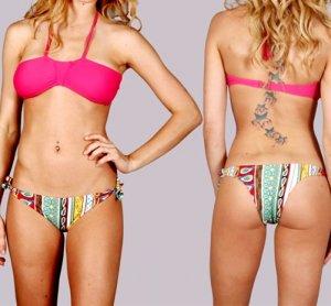 LAST ONE IN STOCK!!! Retro Fuchsia Bandeau Brazilian Bikini Halter Bathing Suit