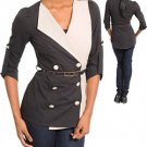 LAST ONE IN STOCK!!! Color Block Belted Double Breasted Blazer Jacket