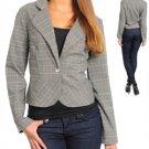 Long Sleeve Plaid Scoop Bottom Blazer Jacket