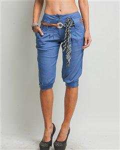 LAST ONE IN STOCK!! Denim Chambray Pleated Jodphur Capri Pant Shorts