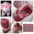 LAST ONE IN STOCK Star-Studded Pink Size 2 (6-12 mths) Girl Princess Ballerina Bling Crystal Shoe