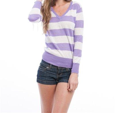 Preppy Stripe V Neck Thin Knit Sweater