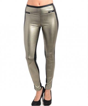 Glitzy Metallic Color Block Two Tone Skinny Leg Pant
