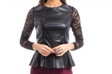 Faux Leather Lace Sleeve Peplum Top Blouse