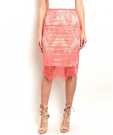 Eyelash Lace Pencil Scalloped Skirt