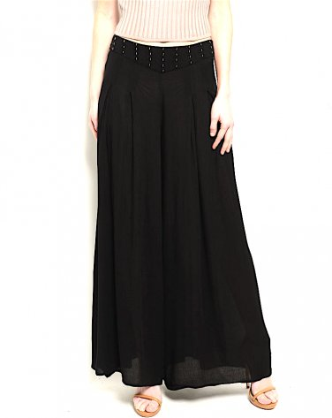 Beaded Waist Pleated Wide Leg Trouser Palazzo Pant