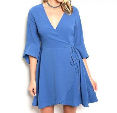 Bell Sleeve Wrap Flirty Dress