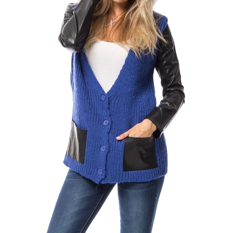 Last One!! Faux Leather Contrast Sweater Button Cardigan