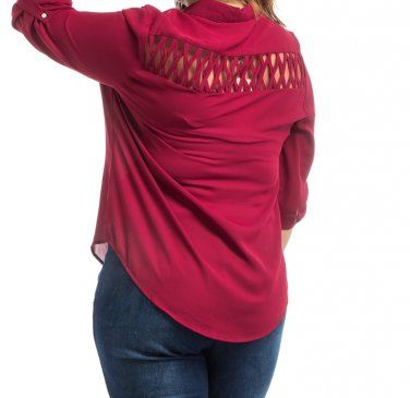LAST ONE! Plus Size Lattice Cutout Button Down Tunic Blouse