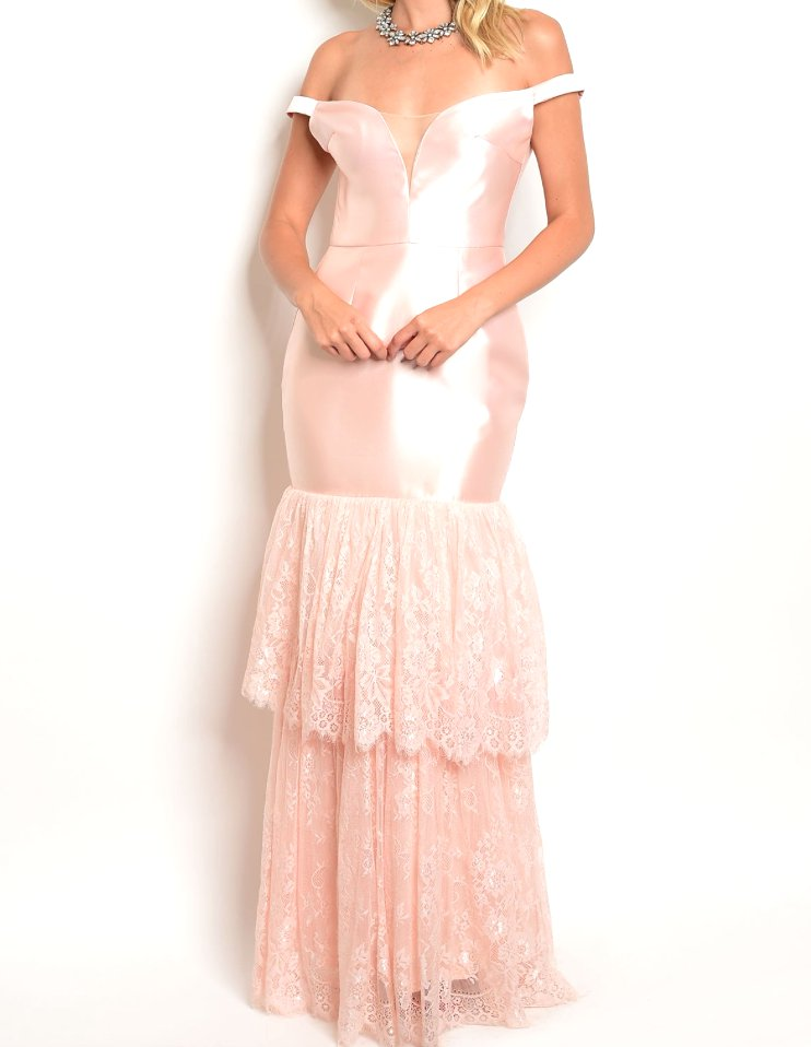 Lace Layer Flounce Mermaid Gown Dress