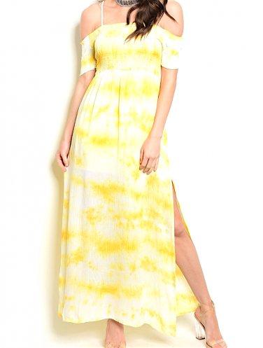 Off Shoulder Smocked Tie Dye Side Slit Dress
