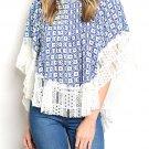$27 Lace Hem Poncho Print Top Blouse