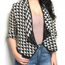 $35 Plus Size Open Front Geo Triangle Print Blazer