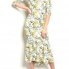 $39 3/4 Sleeve Wrap Top Floral Midi Mermaid Hem Dress