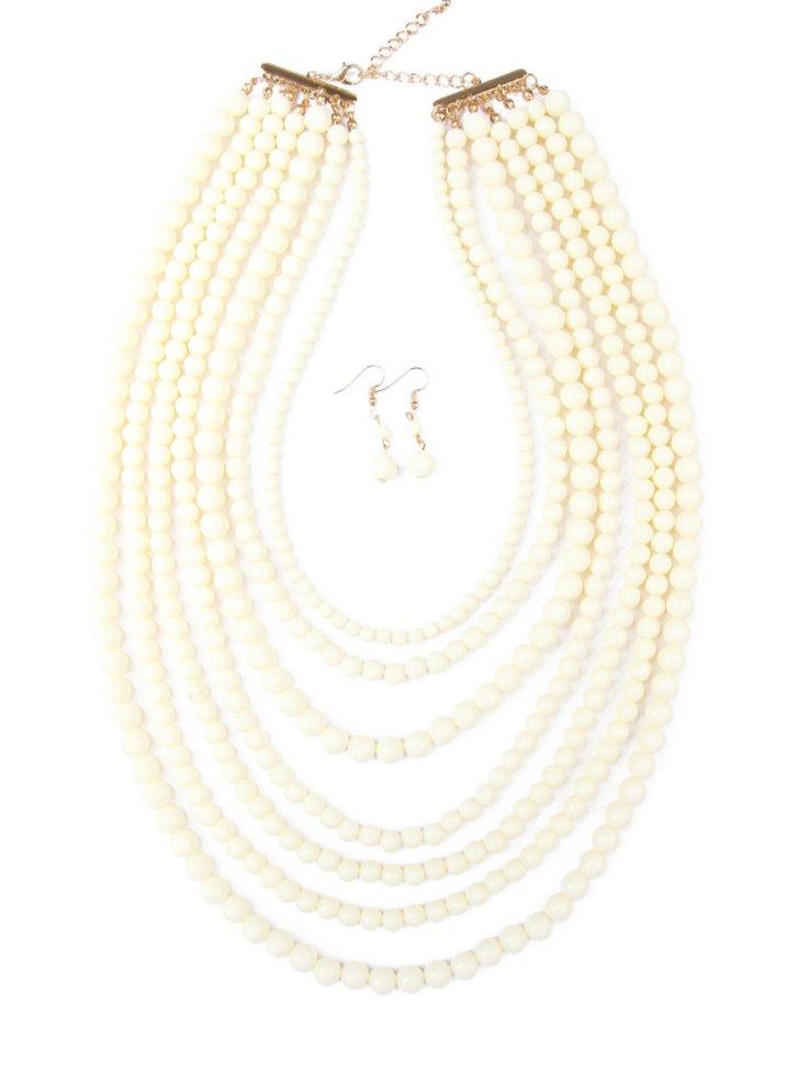 $20 Seven Layer Acrylic Bead Necklace & Double Ball Drop Earring Set