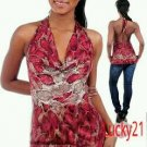 Red wine snake skin print halter top (med)