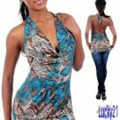 Blue print halter top (med)