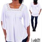 White Flyaway sleeve top (lrg)