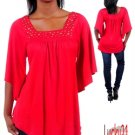 Red Flyaway sleeve top (sm)
