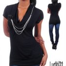 Black Fashion top with necklace (lrg)