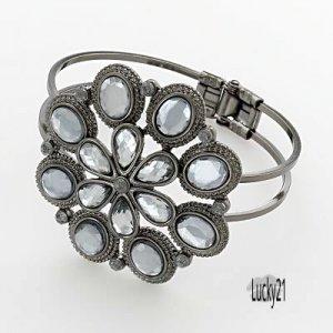 Jet-Tone Filigree Floral Cuff Bracelet