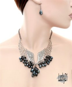 Angel Wing Necklace w/Beads & Earring Set