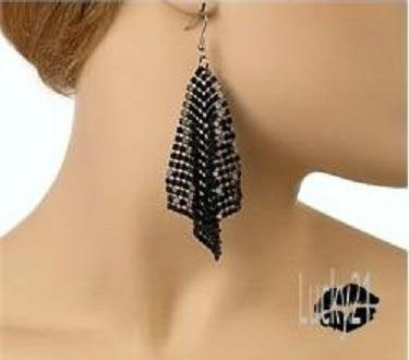 Mesh Dangling Earrings (Black)
