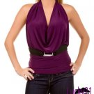 Sexy Drape Neck Halter Top (Purple) Large