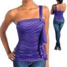 Sexy One Shoulder Top (Purple) Medium