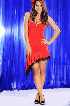 RED FITTED HALTER RHINESTONE BROOCH RUFFLE LACE HEM DRESS (Small)