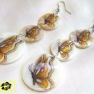 Butterfly shell dangle earrings