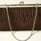 Satin Pleated Kiss Lock Evening Handbag Clutch (Brown)
