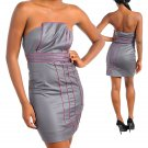 Silver Tube Mini Dress with Pink Pipe Detail (medium)