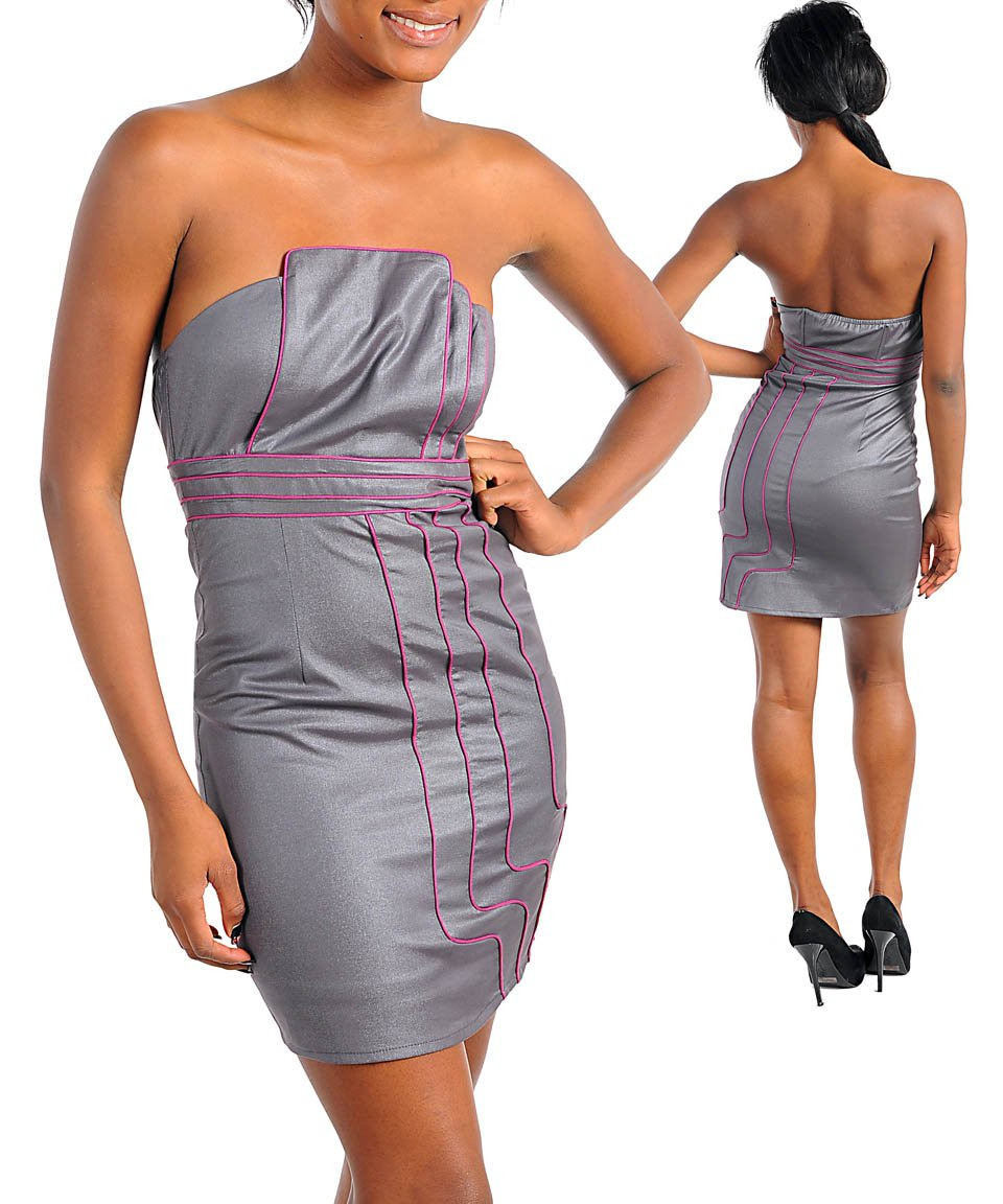 Silver Tube Mini Dress with Pink Pipe Detail (Large)