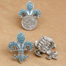 Blue Rhinestone Fleur De Lis Stretch Ring