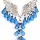 Fashion Angel Wings Beaded Necklace & Earring Set (Blue)