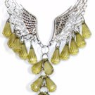 Fashion Angel Wings Beaded Necklace & Earring Set (Green)