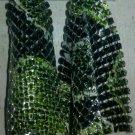Snake Print Mesh Dangling Earrings (Green)