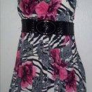 Zebra Print Floral Bubble Mini Dress (Medium)